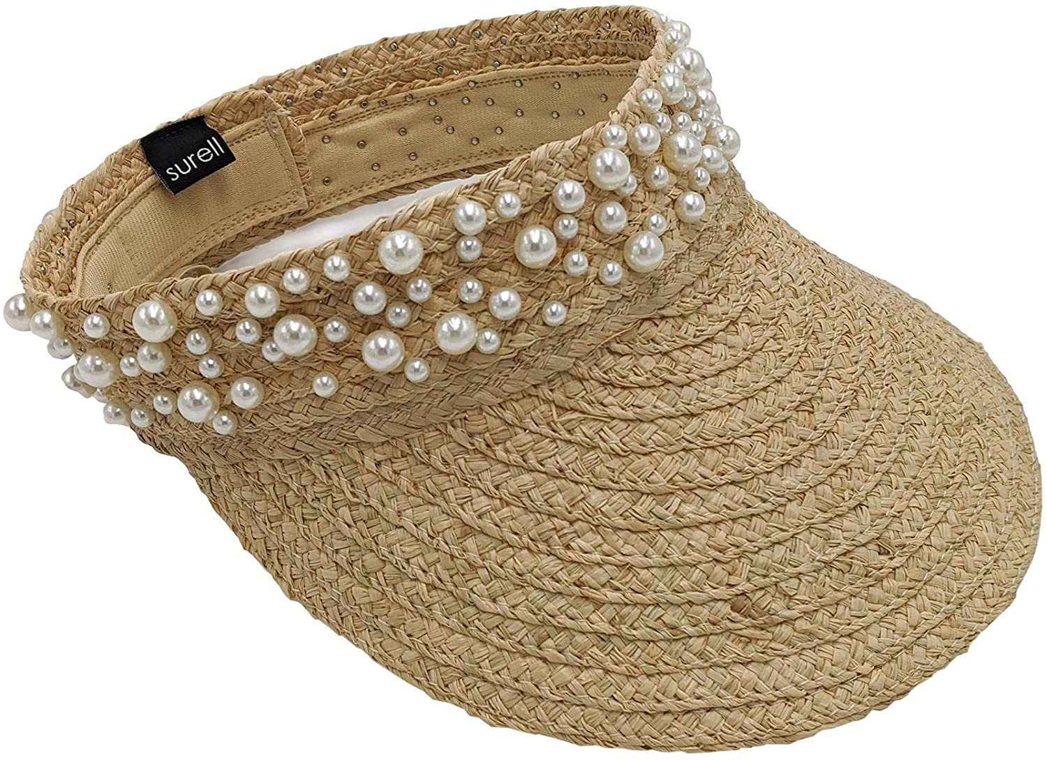 surell - Summer Sunhat Beach Visor Cap with Pearls - Hand Woven Soft Raffia Straw Sun Hat - Sun Protection Cap - Sunny Beach and Lake Gift Present (Tan)