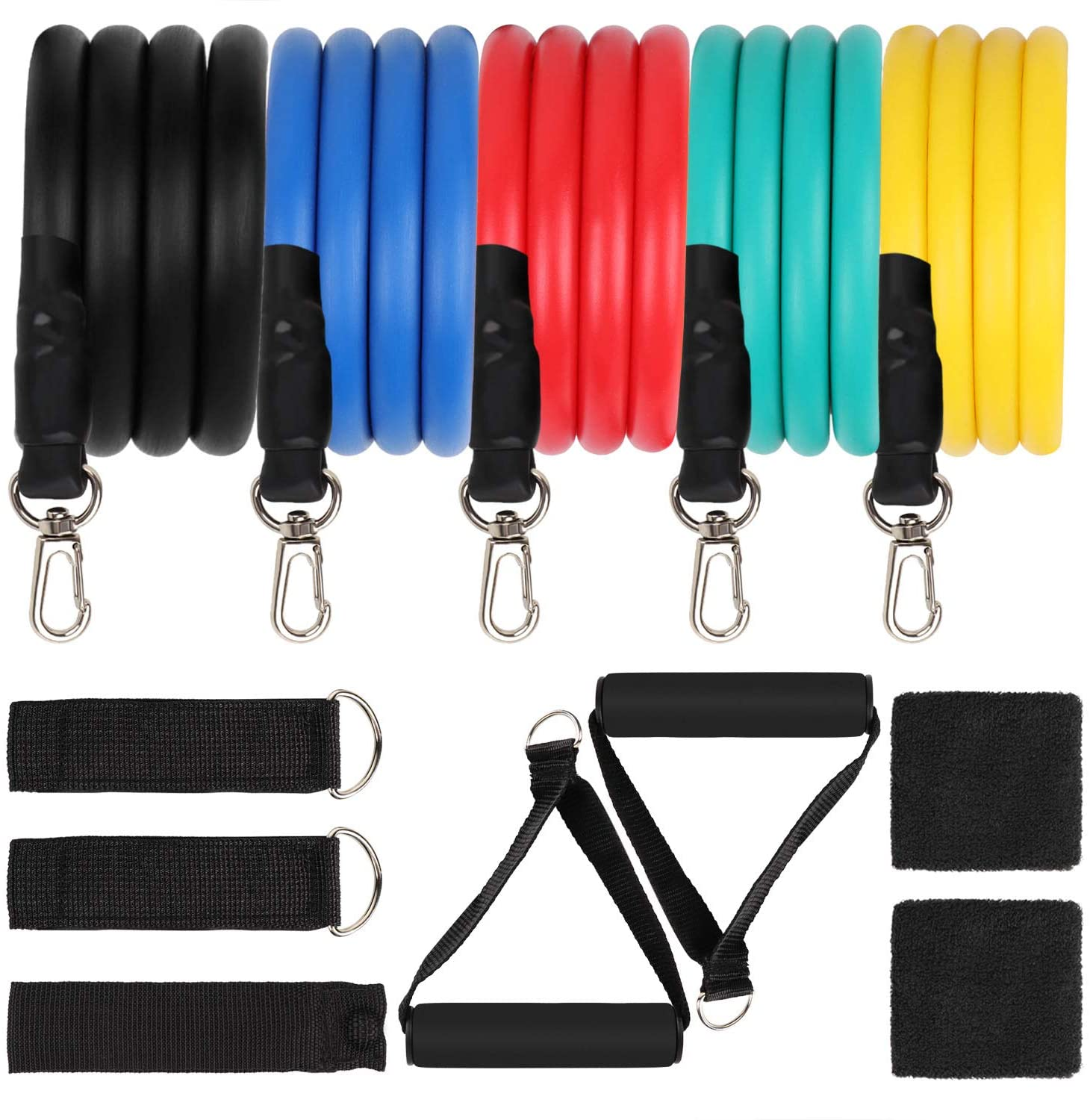 AIFHI 12PCS Exercise Resistance Bands Set Home Gym Accessories with Door Anchor, Handles, Waterproof Carry Bag, Legs Ankle Straps,Bracers for Resistance Training 100lbs