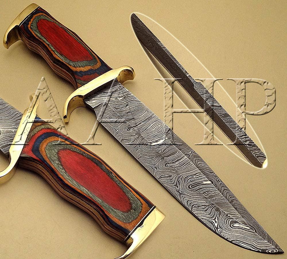 All About Handmade Products AAHP - 26, 14 Inches Hunting Knife with Approx 9 inch Blade Made of 100% Real Damascus Steel, Approx 5 inch Pakka Wood Handle