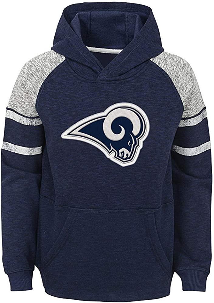 OuterStuff NFL Boys Youth 8-20 Team Color Primary Logo Linebacker Raglan Pullover Fleece Hoodie Sweatshirt (Los Angeles Rams, Youth Large 14-16)