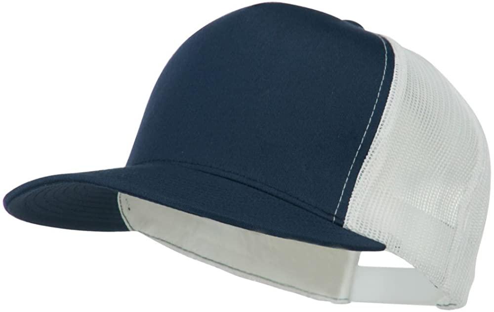 Classic 5 Panel Two Tone Mesh Trucker Snapback Cap - Navy White