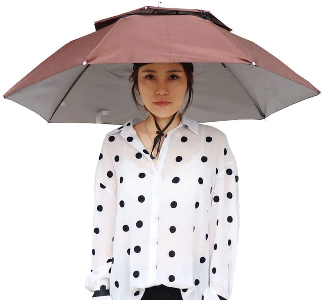 DaMohony Fishing Umbrella Hat Outdoor Folding Dual-Layer UV-Resistant Headwear Fishing Hat