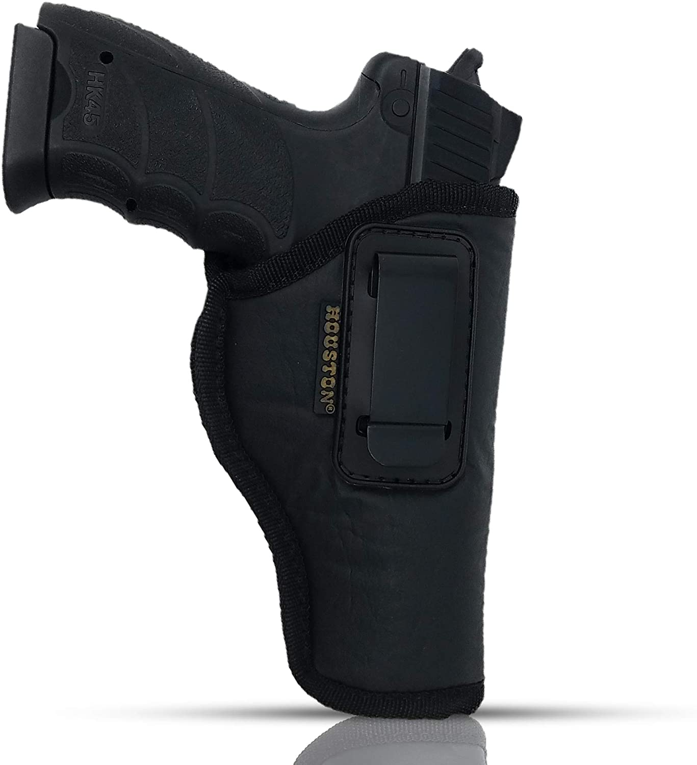 IWB Gun Holster by Houston - ECO Leather Concealment Inside The Waistband with Metal Clip FITS Glock 17/21, H &K,Beretta 92 FS,XDM,Ruger 45, BERSA PRO, PX4, FNX 45, FNH 45, HI Point 9mm /. 40 /.45Cal