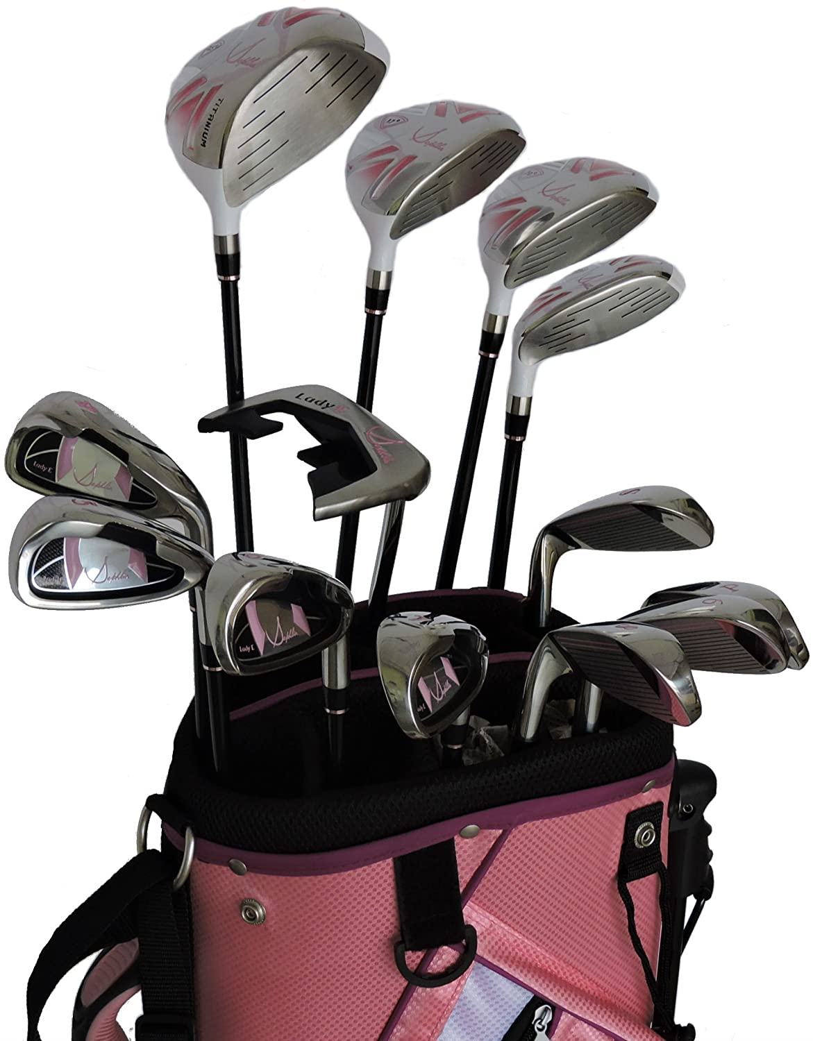 Sephlin Signature Womens Pink 13 Pieces Golf Clubs and Golf Bag