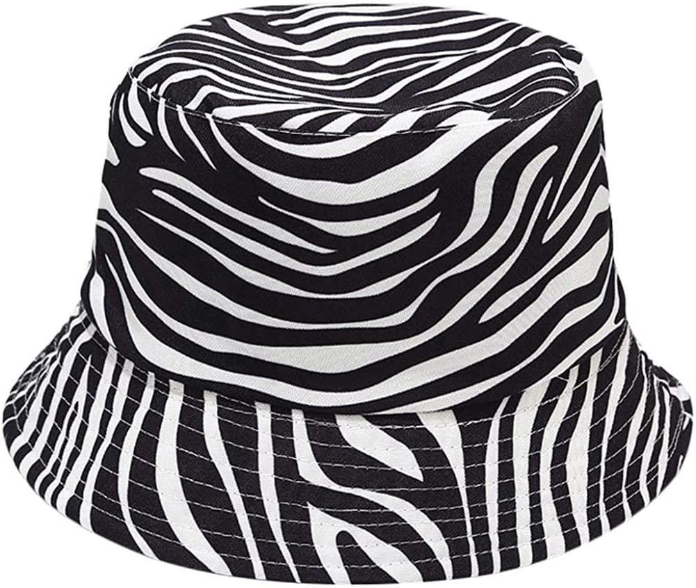 Unisex Zebra Cow Print Reversible Double-Side-Wear Hat Summer Travel Bucket Beach Sun Hat