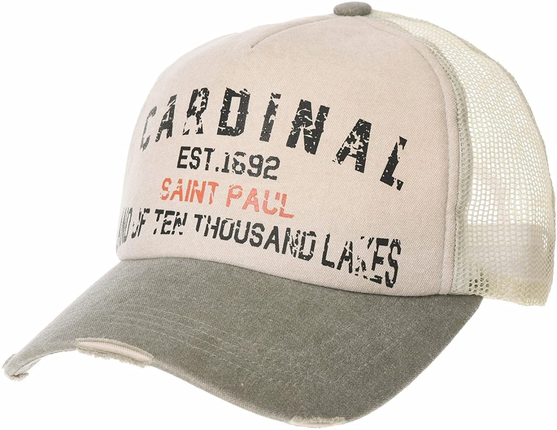 WITHMOONS Meshed Baseball Cap Vintage Trucker Hat Cardinal Lettering NCM1022