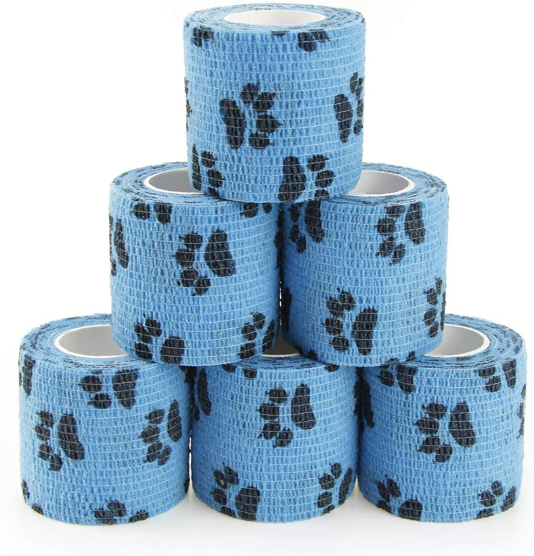 MUEUSS Vet Wrap Pet First Aid Tape Waterproof Self Adherent Cohesive Bandage for Dogs Cats Horses Breathable Non-Woven Elastic Sport Tape for Arm Knee Ankle Sprain (6 Rolls, 2