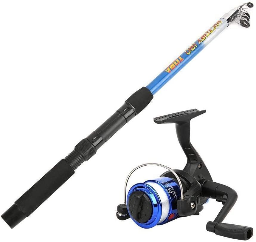 Enrilior Fishing Reel Wheel Portable Accessories Bag Retractable Fishing Rod Set for Beginner