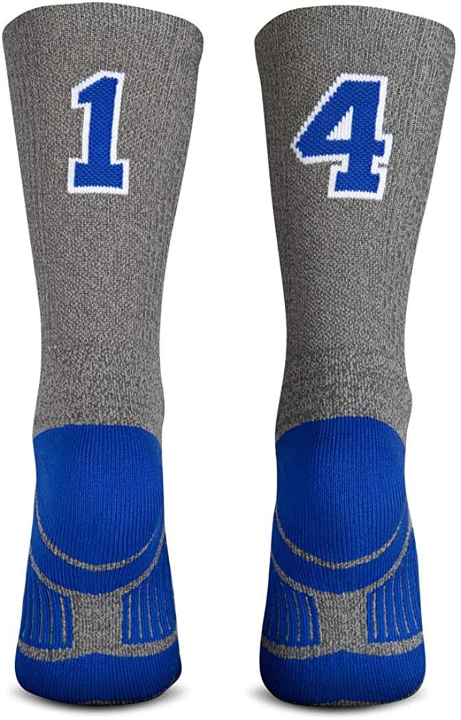 Custom Team Number Mid-Calf Crew Socks | Athletic Socks by ChalkTalkSPORTS | Gray & Blue