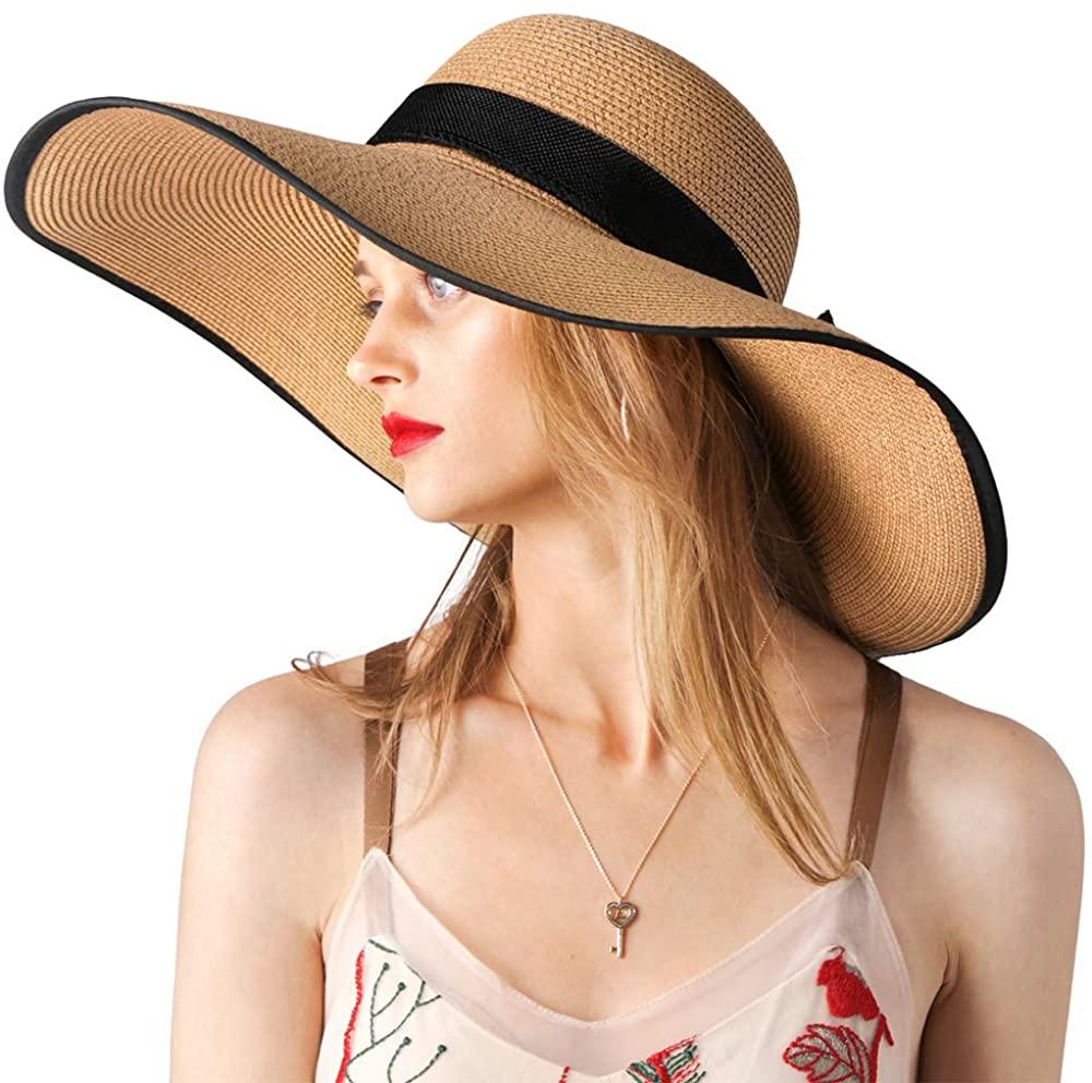 Women Sun Hat Wide Brim UPF 50 Summer Hat Straw Roll up Floppy Beach Travel Fedora Cap Foldable