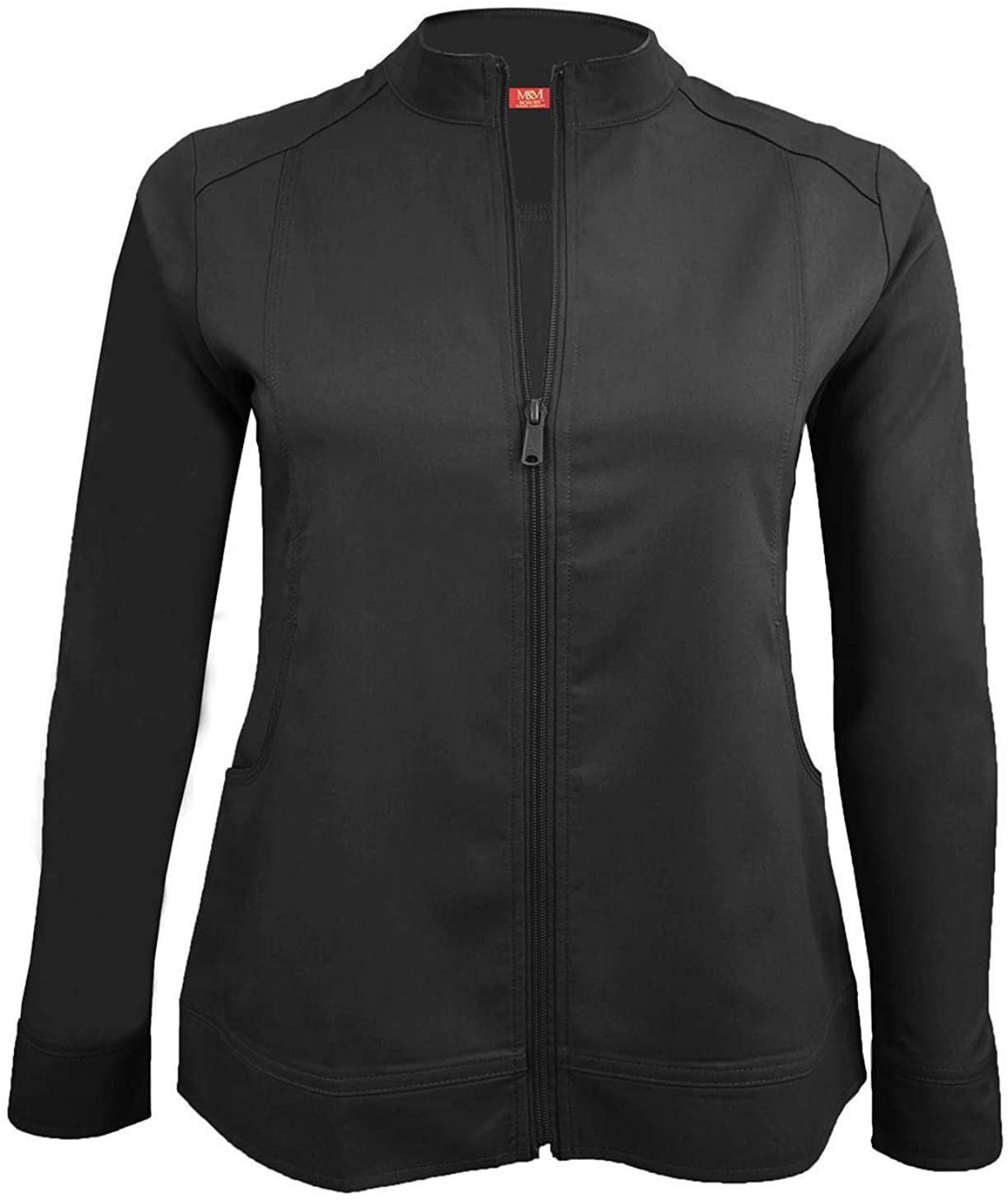 M&M Scrubs Women's Ultra Soft Front Zip Warm-Up Scrub Jacket (XXX-Large, Black)