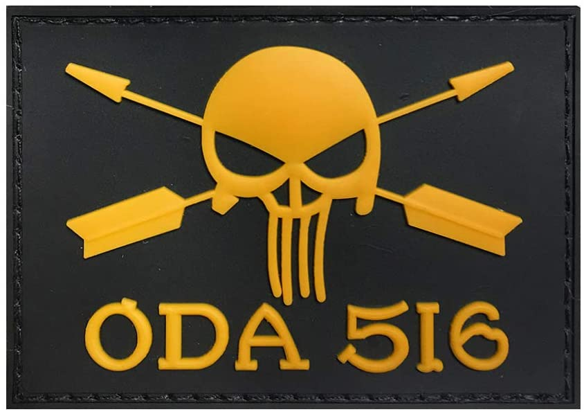 Morton Home ODA 516 Special Force Rubber 3D PVC Badge USA Army Tactical Skull Patch PVC Badge for Cap OR Clothing (Yellow)