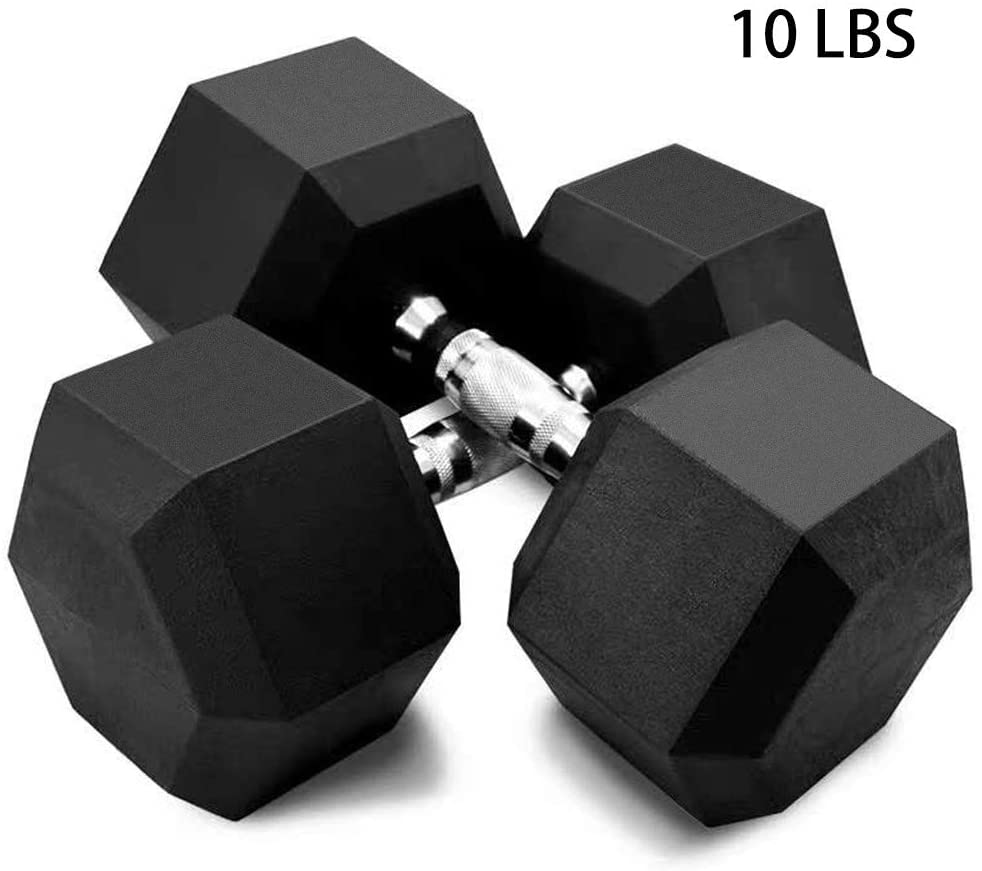 N-B Barbell Set of 2 Hex Rubber Dumbbell with Metal Handles, Heavy Choose Weight for Strength Training ,Weight Loss,Full Body Workout Home Gym Exercise(5,10,20lbs/2pcs; 30,50lbs/1pc)