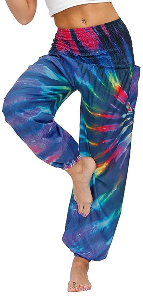 DUOLIFU Women's Smocked Waist Tie Dye Print Harem Hippie Boho Yoga Palazzo Casual Pants
