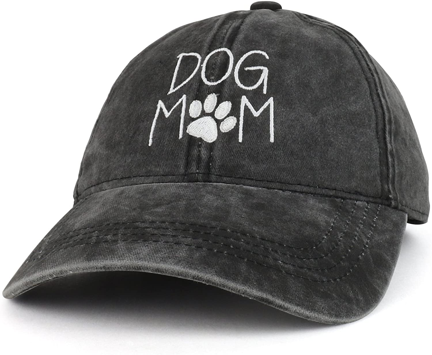 Trendy Apparel Shop Dog Mom Text Embroidered Washed Cotton Baseball Cap