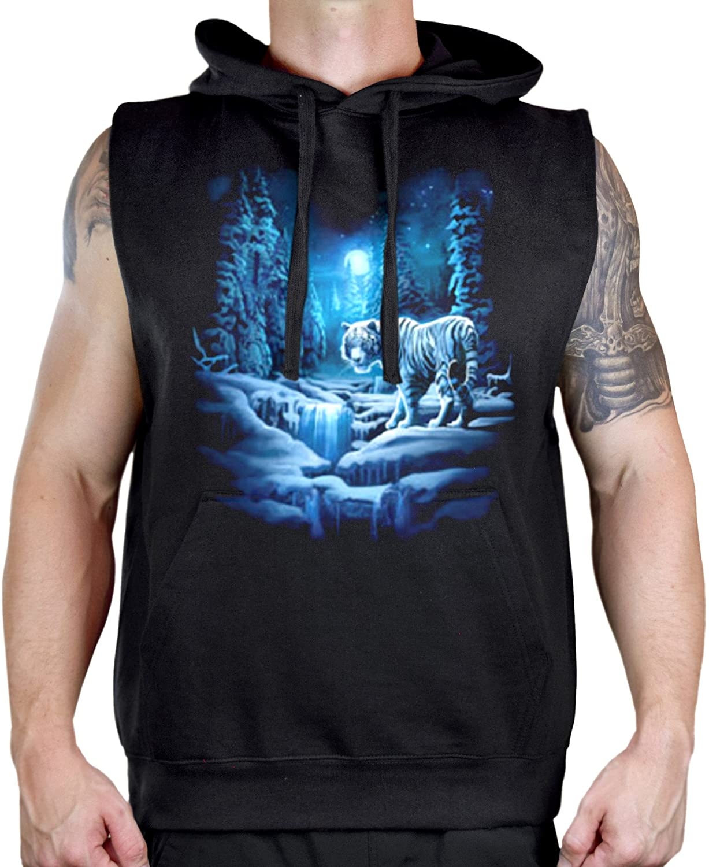 Men's Wild Hunting Snow Tiger Black Sleeveless Vest Hoodie