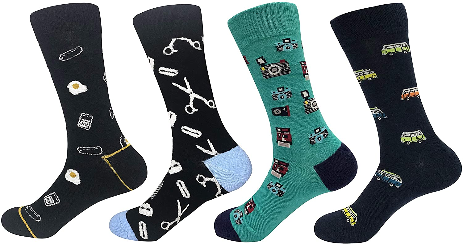 TOSKIP Men's Game Funny Novelty Sock and Daddy Old-School Business Cotton Socks Size 7-13