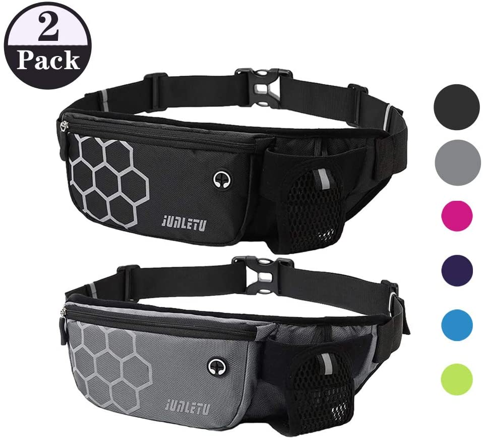 ZIROLO Running Belt Waist Pack with Water Bottle Holder Fanny Pack for Men Women Runners Waist Belt Bag for Hiking Fitness Travel - Waterproof Reflective Adjustable Running Pouch Belt