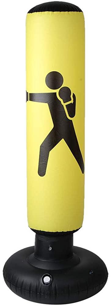 OhhGo PVC 160cm Fitness Hit Sandbag Adults Children Inflatable Column Tumbler Punching Bag(Black)