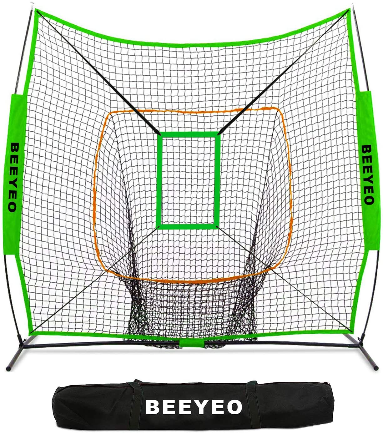 BEEYEO Baseball & Softball Net for Hitting & Pitching | Heavy Duty 7x7 Pro Series | Indoor & Outdoor Training Net | Bow Frame + Bonus Strike Zone Included