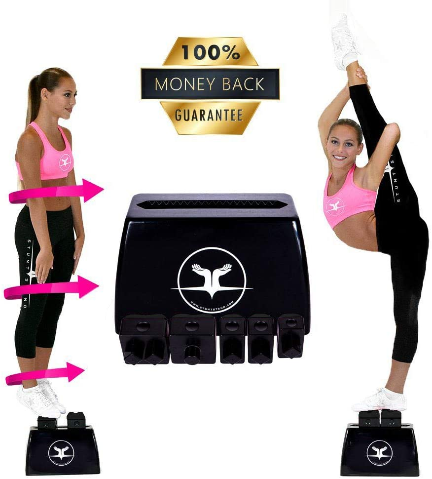 Stunt Stand Cheerleading Balance & Flexibility Stunt Training Equipment - Increase Stunt Awareness Safely on The Ground - Free Training Video Links Included - Black