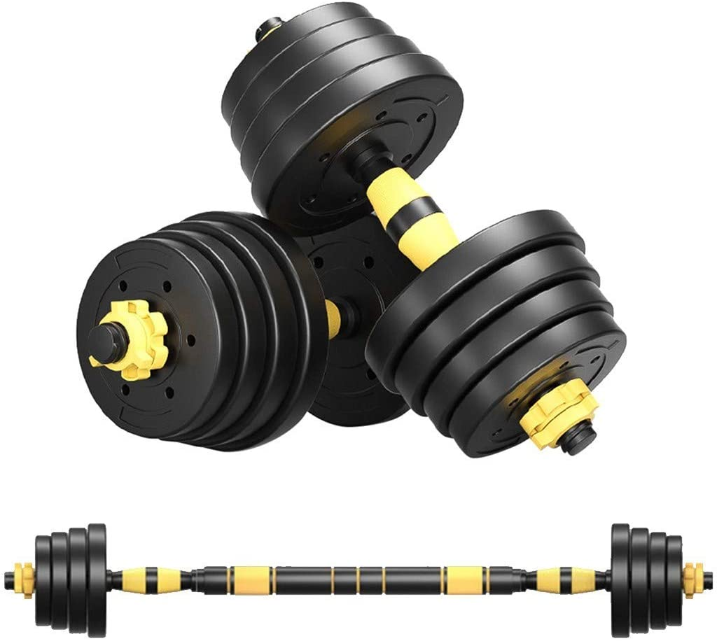 Weights Dumbbells,Adjustable Dumbbell Barbell Weight Pair, Free Weights 2-in-1 Set with Connecting Rod, 22/44/66/88LB Dumbbell Set,Non-Slip Neoprene Hand, All-Purpose, Home, Gym, Office[from US]