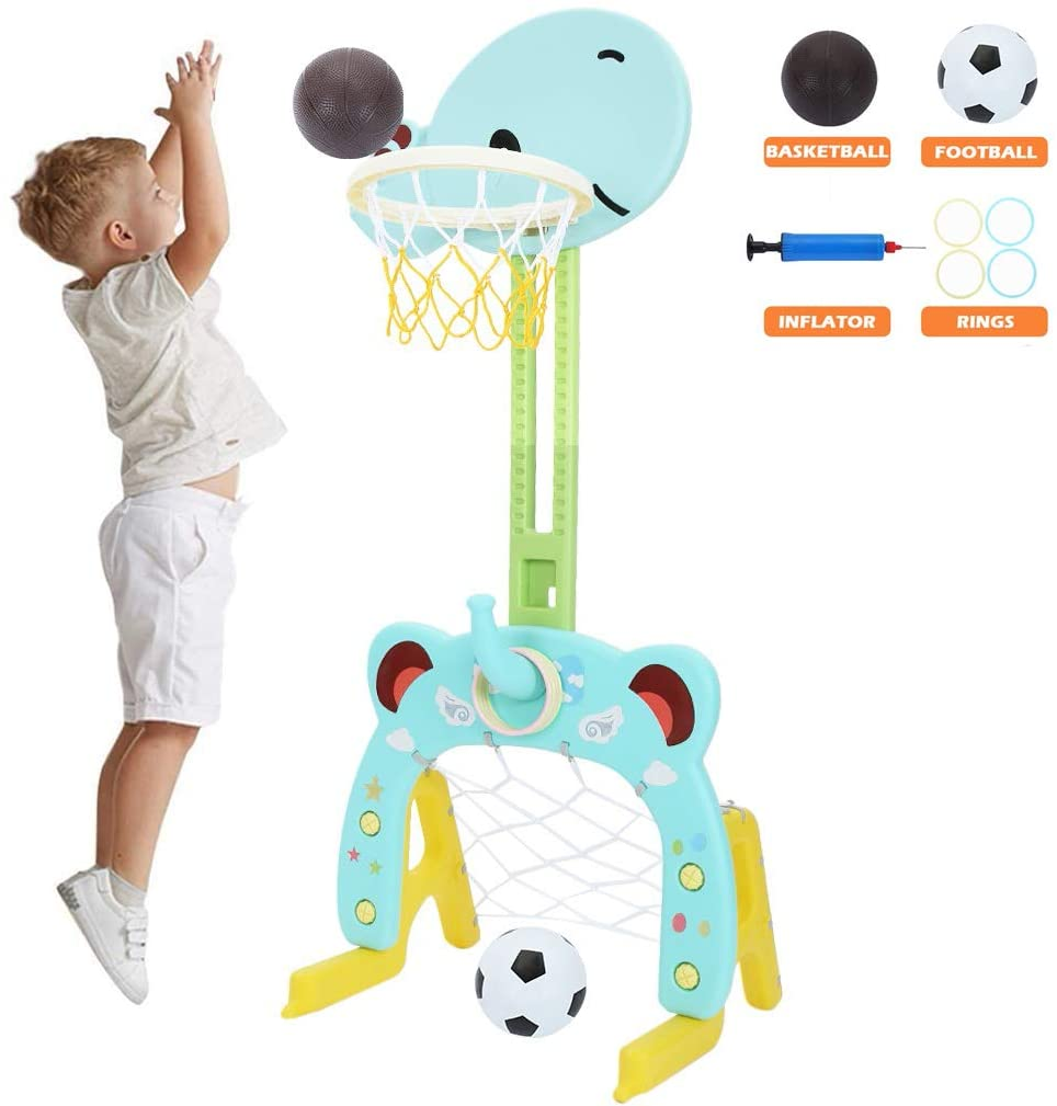 Atrad Kids Basketball Hoop Set Stand, 3-in-1 Sports Activity Center, Adjustable 4~5.3Ft, Basketball Stand Set with Basketball/Ring Toss/Soccer, Best Gift for Kids