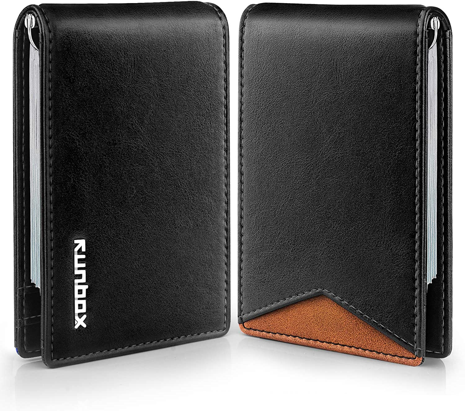 RUNBOX Wallets for Men RFID BLOCKING Leather Stylish Bifold Mens Wallet with Clip