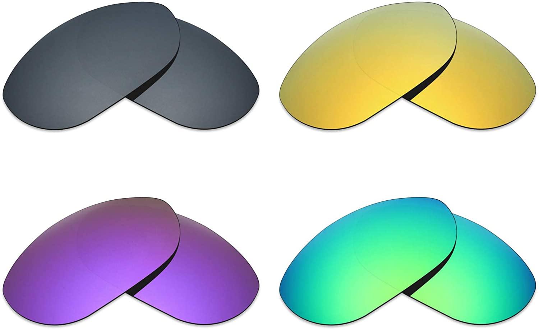 Mryok 4 Pair Polarized Replacement Lenses for Oakley Monster Dog Sunglass - Black IR/24K Gold/Plasma Purple/Emerald Green