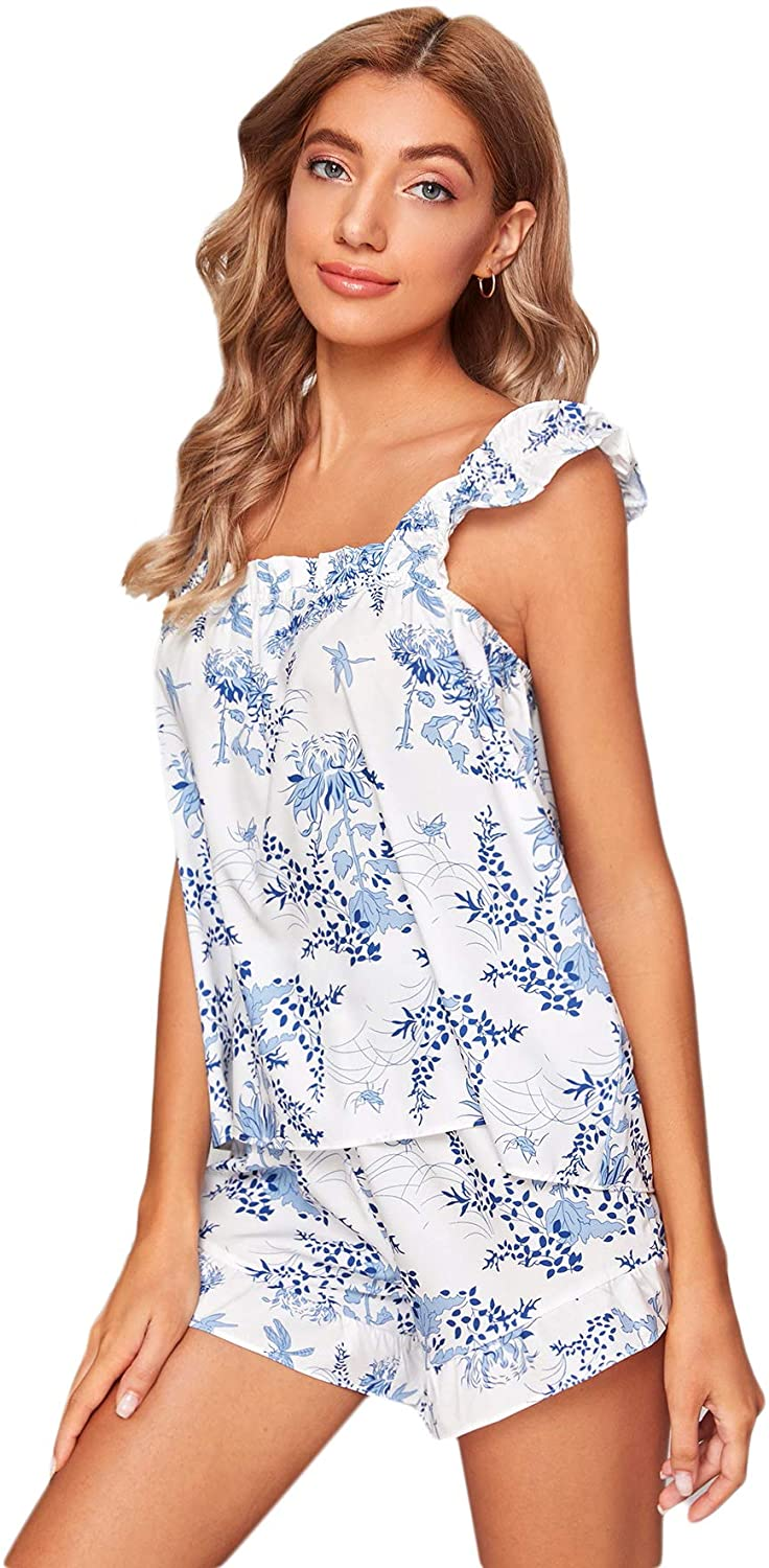 SOLY HUX Women's Floral Print Sleepwear Straps Cami Top with Shorts Pajama Set
