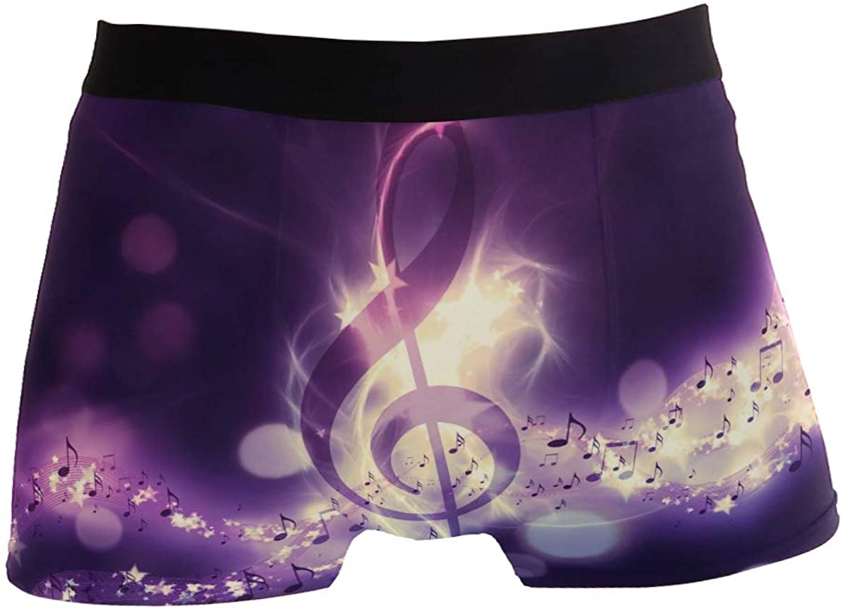 ZZKKO Galaxy Music Note Mens Boxer Briefs Underwear Breathable Stretch Boxer Trunk with Pouch S-XL