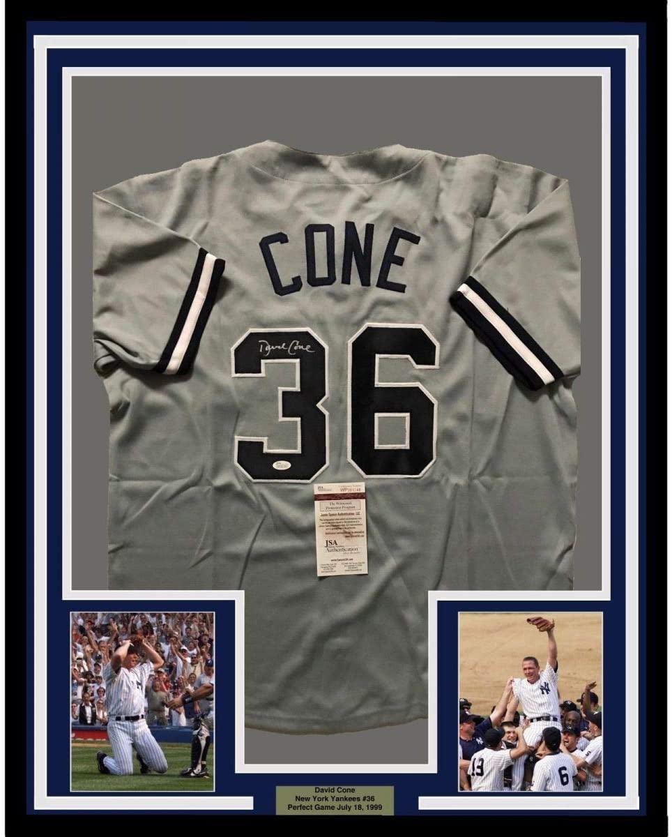 Framed Autographed/Signed David Cone 33x42 New York Grey Baseball Jersey JSA COA