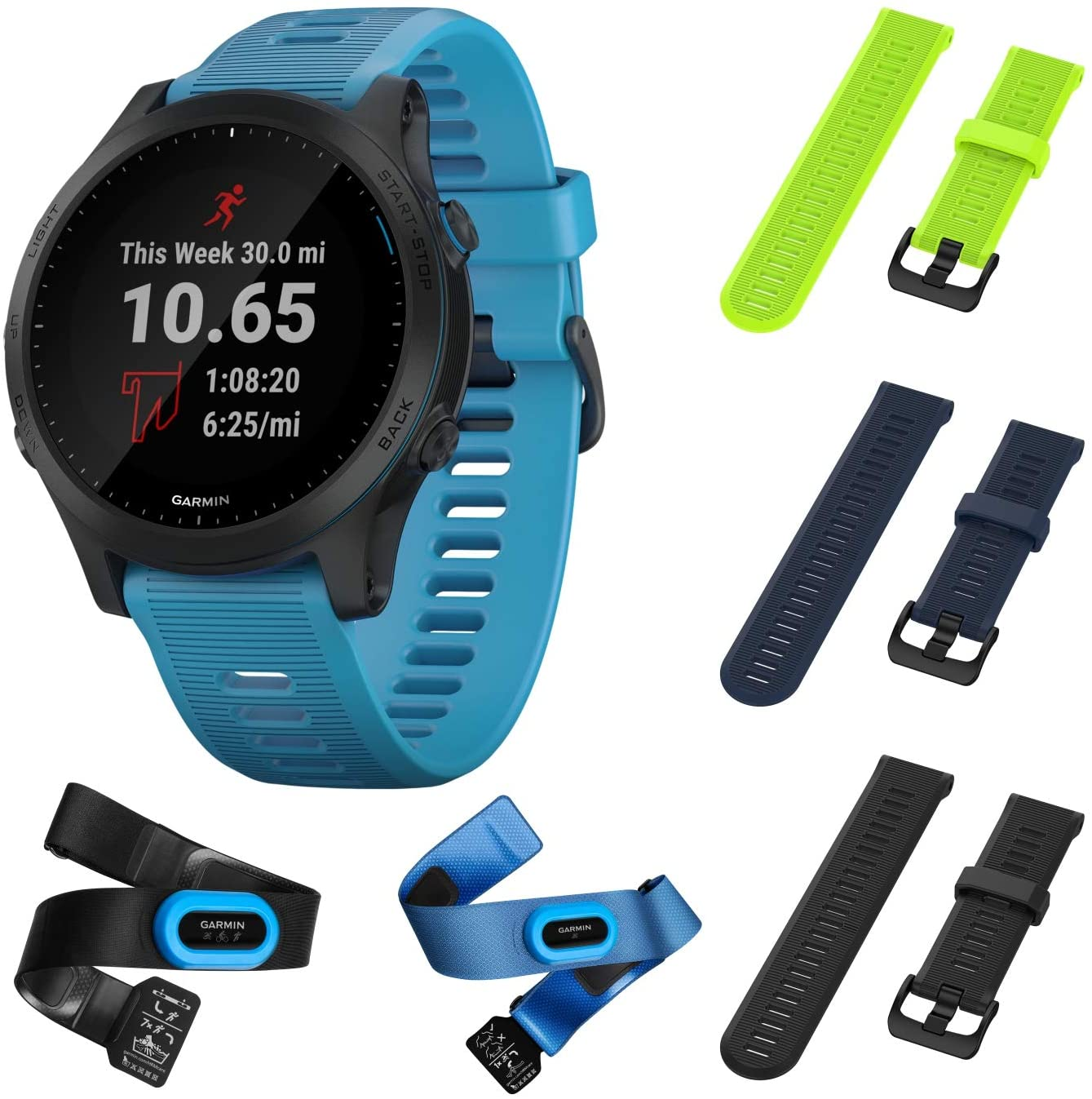 Garmin Forerunner 945 Bundle, Premium GPS Running/Triathlon Smartwatch with Music Included Wearable4U 3 Straps Bundle (Lime/Navy Blue/Black)