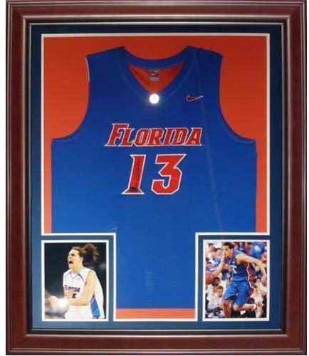 Joakim Noah Autographed Florida Gators (Blue #13) Deluxe Framed Jersey - Autographed College Jerseys