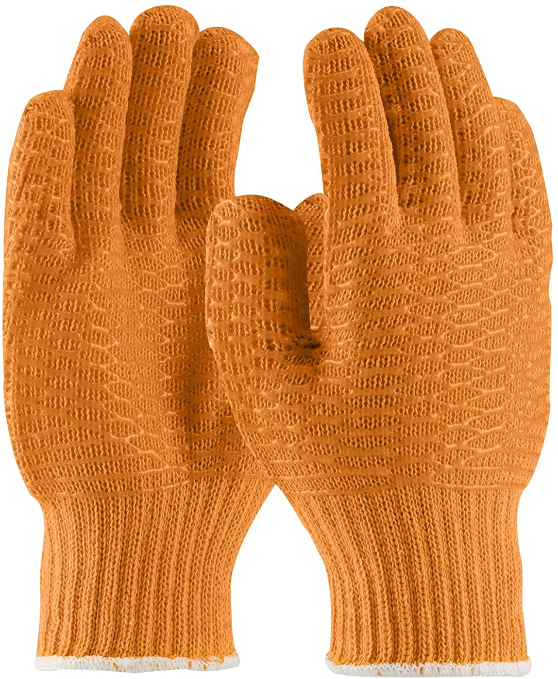 Pack of 24 Knit Glove Liners S size. Orange Protective String Knit Gloves. Clear PVC Honeycomb Finish. Knitted Cotton Polyester Gloves for General. Not for Food Handling. Comfortable fit. Wholesale.