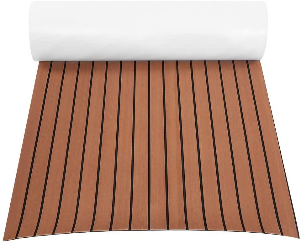 Non-Slip Boat Flooring Decking Pad for Yacht RV, EVA Teak Decking Sheet Boat Flooring Fit for Yacht (Dark brown)