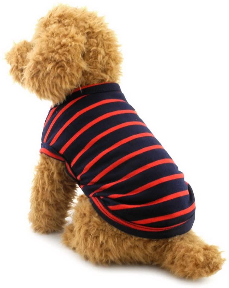 SELMAI British Small Dog Shirt Striped Cat Vest Top Soft Cotton T-Shirt for Boy Girl Pet Tee Summer Puppy Clothes