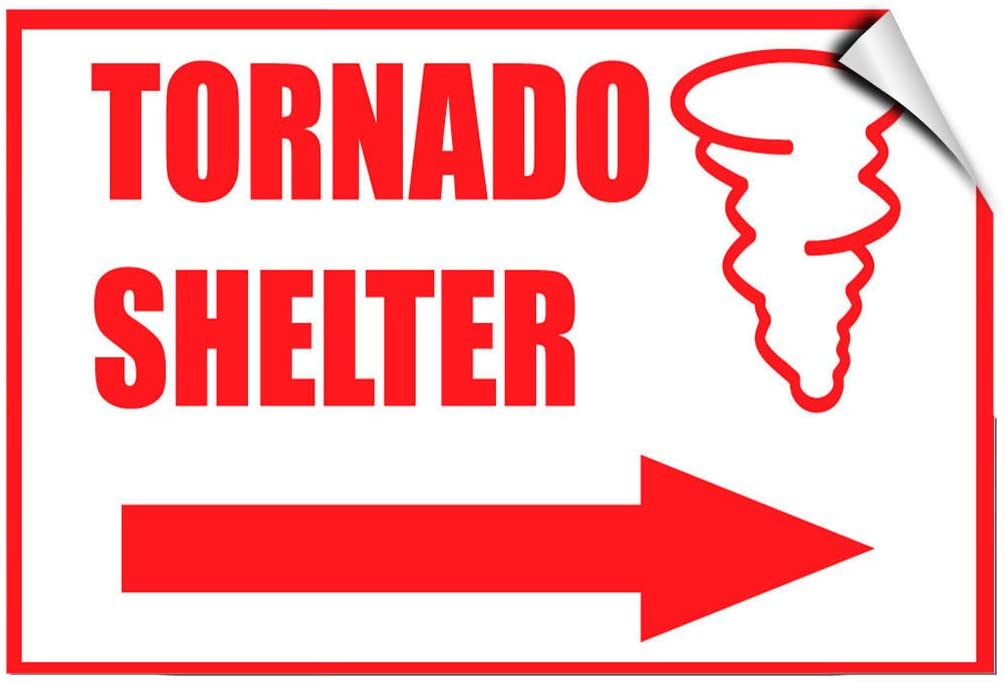 Fire Tornado Shelter With Right Arrow Hazard LABEL DECAL STICKER Sticks to Any Surface