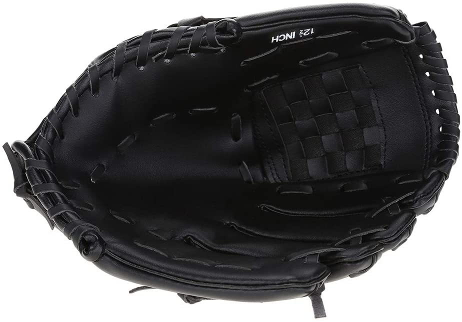 OhhGo Adult Baseball Accessories Left-Hand Glove for Practicing Training Competition (Black)