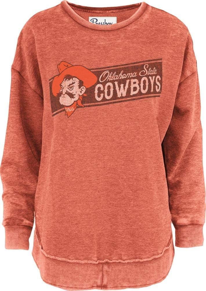 Press Box Womens Oklahoma State University Vintage Fleece Fleece Sweatshirt