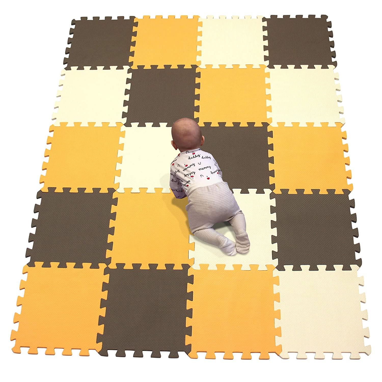 YIMINYUER Interlocking Floor Foam Mat Living Room Kids Playmat Gardan Yoga Exercise Gym Gymnastic Children's Bed Room Equipment Soft Foam Tiles Orange Brown Beige R02R06R10G301020