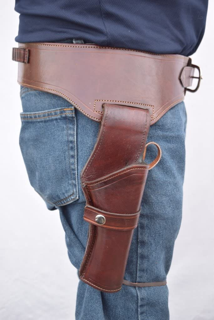 Leathertown USA Gun Holster & Belt Cowboy Western Style Rig .38/.357 Cal Single Drop Holster Standard .38/.357 Barrel