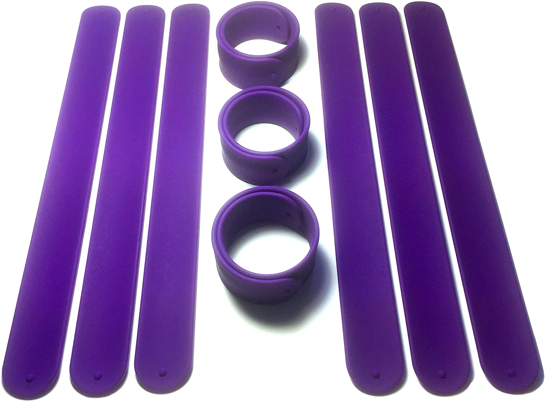 TheAwristocrat 9 Dark Purple Silicone Slap Bracelets - Soft & Safe for Kids Boys & Girls Party Favors - Durable