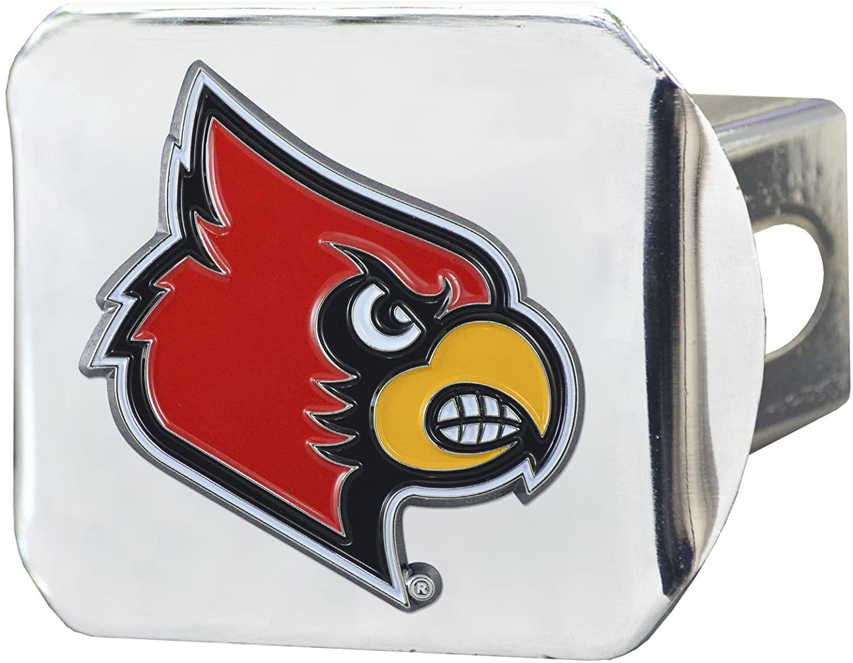 CC Sports Decor NCAA University of Louisville Cardinals Color Class III Hitch - Chrome Hitch Cover Auto Accessory