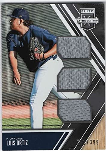 2017 Panini Elite Extra Edition Triple Materials Jersey Relic #14 Luis Ortiz SER/399 Milwaukee Brewers