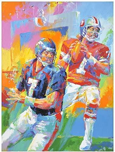John Elway Denver Broncos Old/New Original Artwork - Original NFL Art and Prints