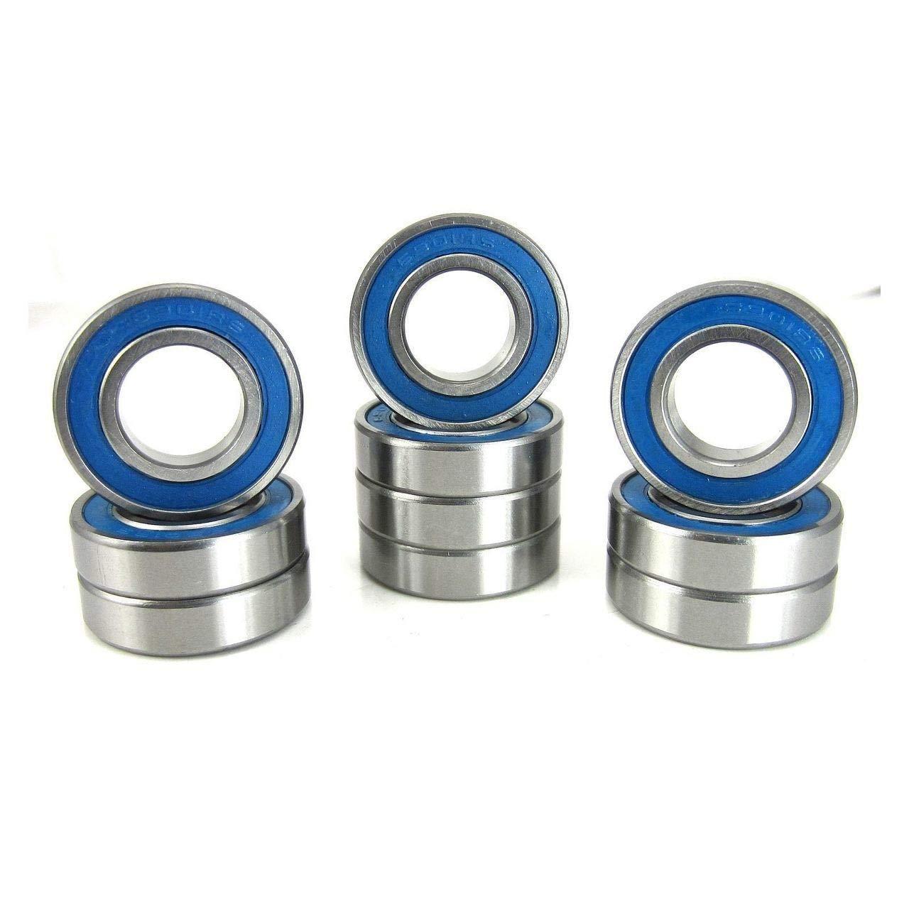 12x24x6mm Precision Ball Bearings ABEC 3 Blue Rubber Seals (10)