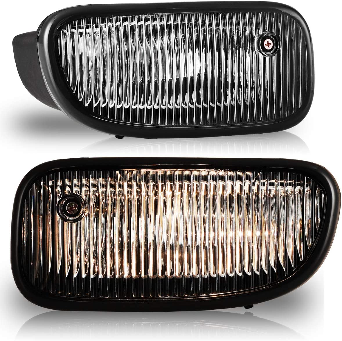 Fog Lights for 1999-2003 JEEP Grand Cherokee with Bulbs H12 12V53W AUTOFREE OEM Fog Lamps Replacement- 1 Pair(Clear Lens)
