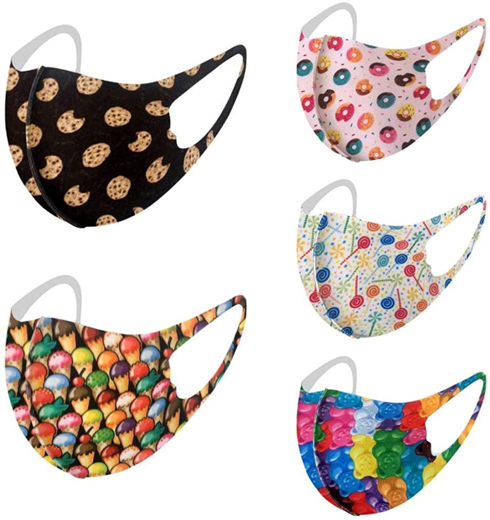 POTO Face_Masks for Children Reusable Face Bandanas with Cute Pattern for Kids, Breathable and Anti-Haze Dust