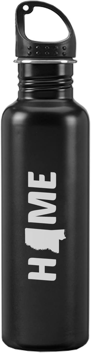 Mississippi-State Outline-Home -24-ounce Sport Water Bottle-Black